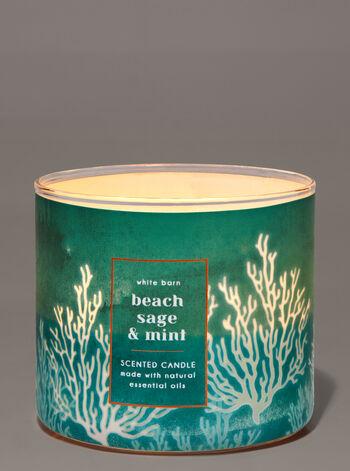 Beach Sage & Mint fragranza Candela a 3 stoppini