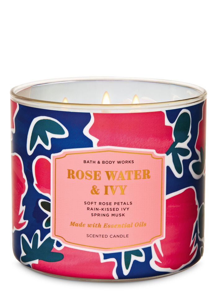 Rosewater And Ivy fragranza Candela a 3 stoppini