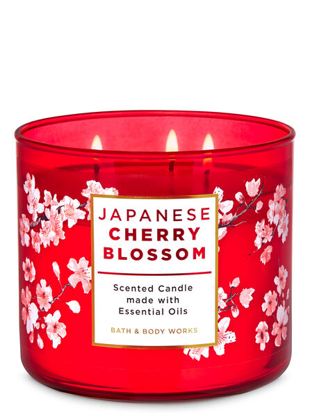 Japanese cherry blossom fragranza Candela a 3 stoppini