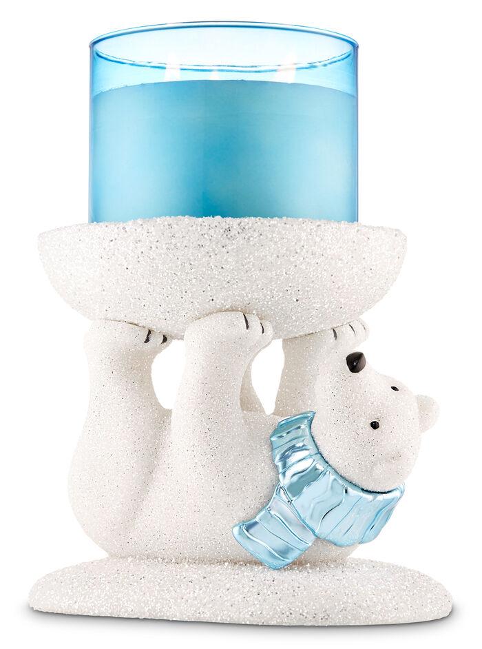 Sparkly Polar Bear Pedestal fragranza 3-Wick Candle Holder