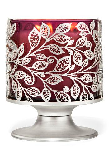Foglie argentate fragranza Porta candela a 3 stoppini
