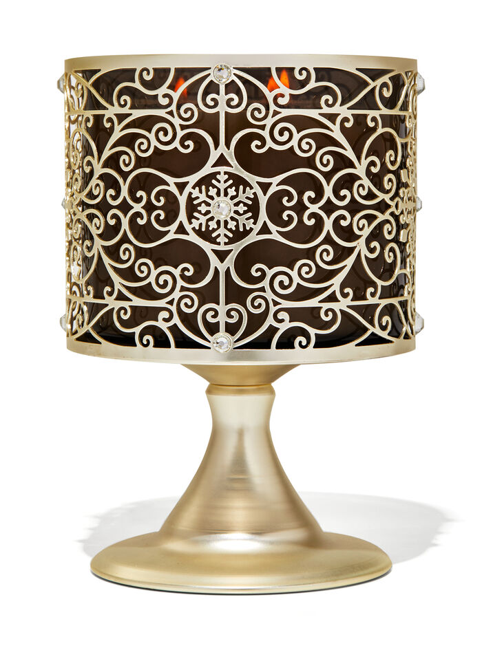 Ornate Snowflake Scroll Pedestal fragranza Porta candela a 3 stoppini