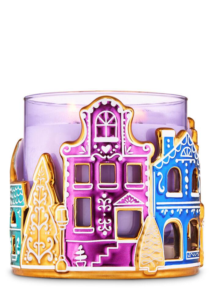 Ceramic Gingerbread Village fragranza 3-Wick Candle Holder